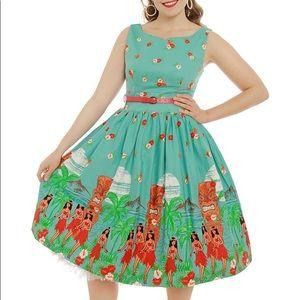 Lindy Bop Delta Tiki Print Dress